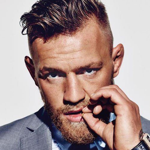 Conor McGregor Hairstyles - High Fade with Messy Quiff and Beard