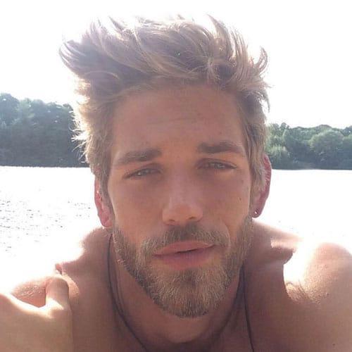 hair beard with scruffy blonde and Man
