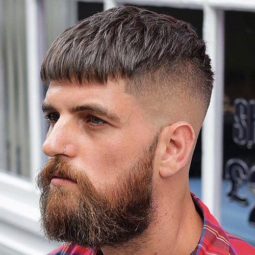 Faded Beard - High Bald Fade with Fringe and Thick Beard
