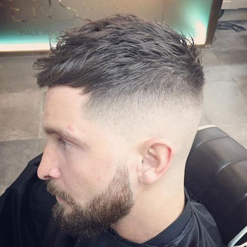 High Bald Fade with Fringe and Beard