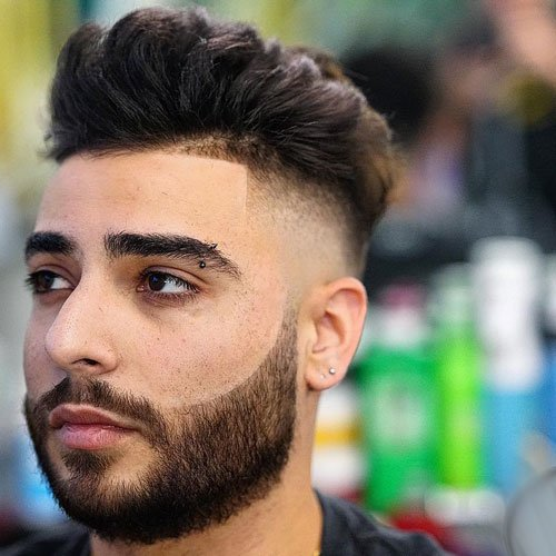 High Fade with Edge Up and Beard