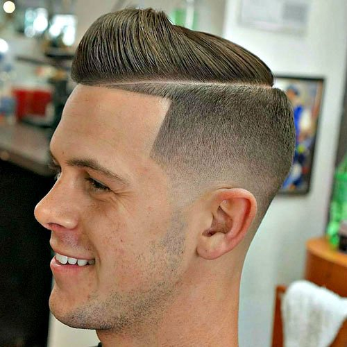 High Fade with Line Up and Shaved Hard Part