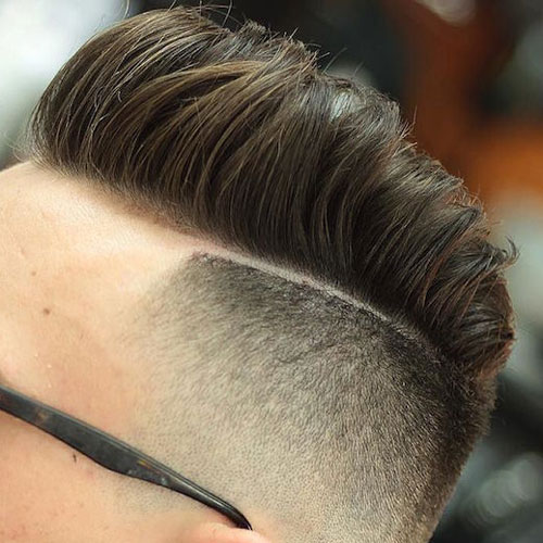 High Skin Fade with Combed Over Pompadour