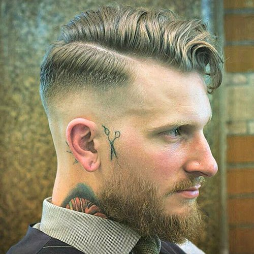 High Skin Fade with Razor Side Part
