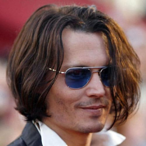 Johnny Depp Long Hairstyle with Goatee