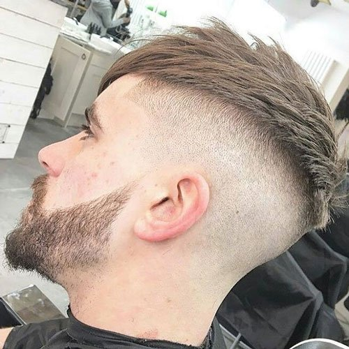 Long Fringe with Bald Fade and Beard