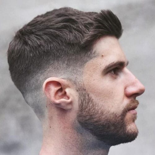 Low Bald Fade with Side Swept Crew Cut