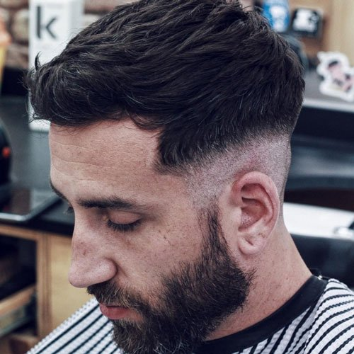 Low Razor Fade with Textured Fringe and Beard