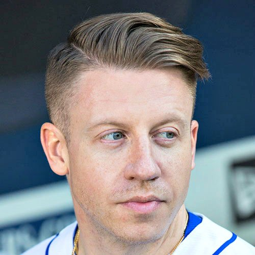 Macklemore Hairstyle - High Fade with Long Side Part