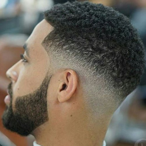 Men's Beard Fade Styles - Low Bald Fade with Thick Beard