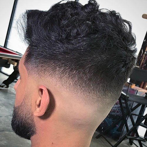 Mid Bald Fade with Textured Wavy Hair
