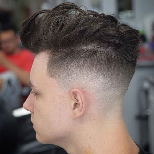 Quiff with Mid Razor Fade