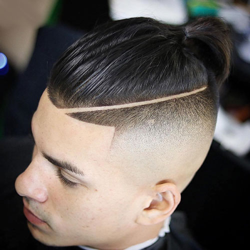Razor Faded Sides with Part and Top Knot
