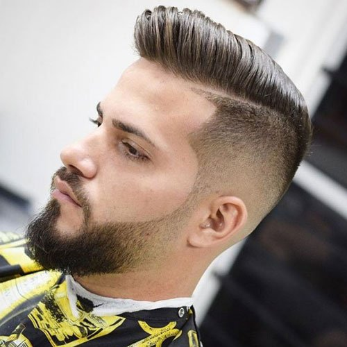Stylish Beard Fade - Undercut with Pompadour and Faded Beard