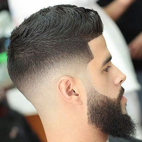 Top Beard Fade Styles - Mid Skin Fade with Line Up and Long Beard
