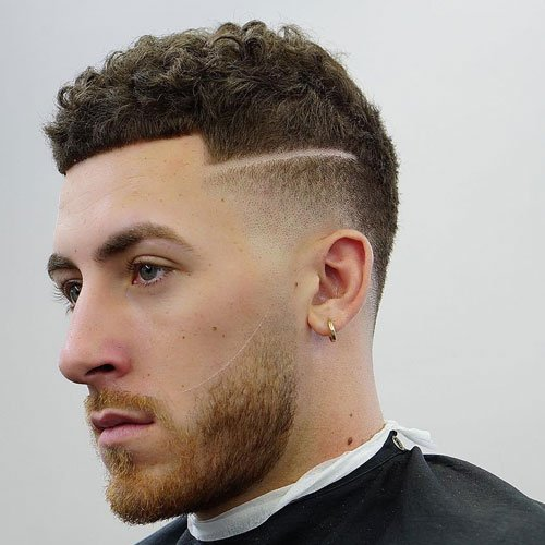 Curly Buzz Cut with Low Temp Fade and Design