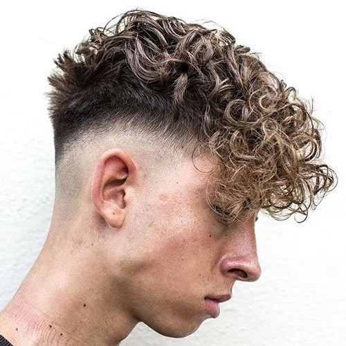Curly Hair Skin Fade with Angular Fringe