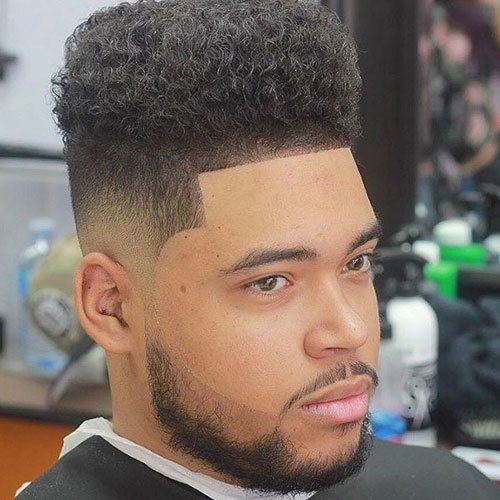 Curly High Top Fade with Line Up and Beard