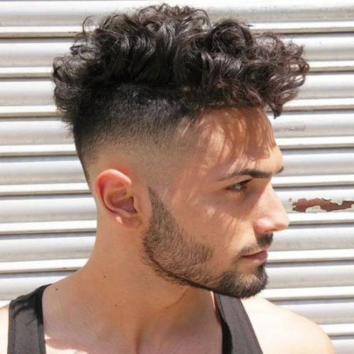 Curly Skin Fade with Beard