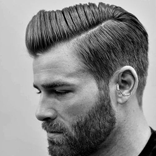 Taper Hairstyles tapered haircut and back slicked hairstyle long taper haircut men Hard Side Part With Taper And Beard