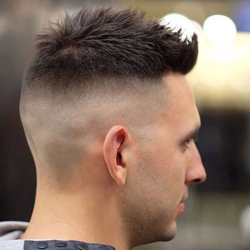 High Bald Fade with Crew Cut and Spiked Fringe