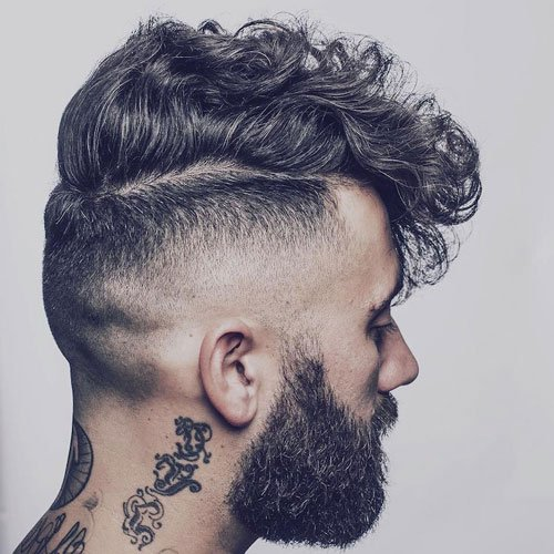 High Curly Fade with Fringe and Beard