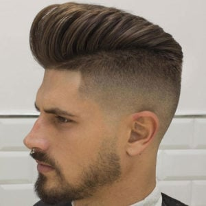 High Fade Pompadour + Beard