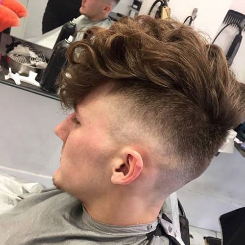High Fade Undercut with Long Curled Fringe