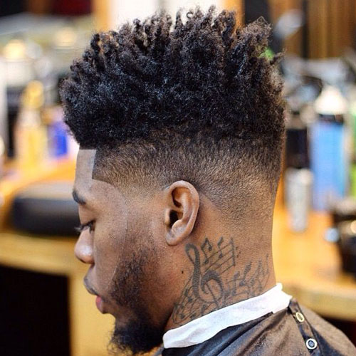 High Skin Fade with Long Kinky Hair