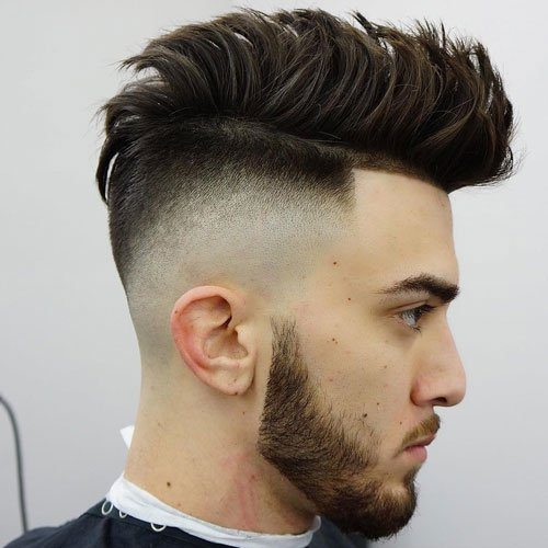 High Skin Temple Fade with Brushed Up Hair