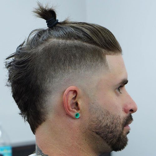 High Temple Fade with Top Knot and Beard