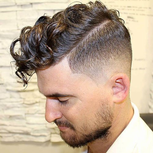 Long Curly Fringe with High Fade and Facial Hair