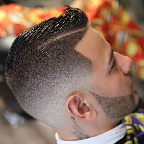 Low Bald Fade with Hard Side Part and Beard
