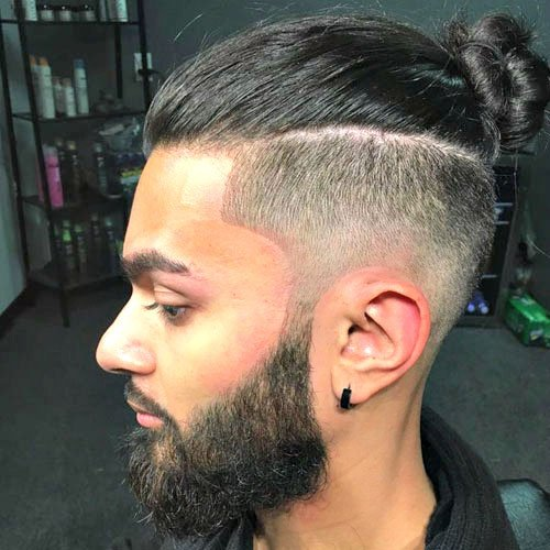 Low Bald Fade with Man Bun
