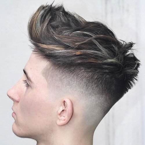 Low Bald Fade with Textured Quiff
