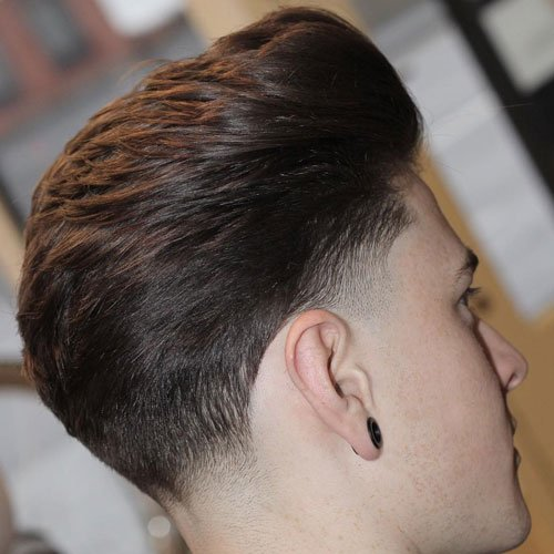 Low Classic Taper with Thick Brushed Back Hair