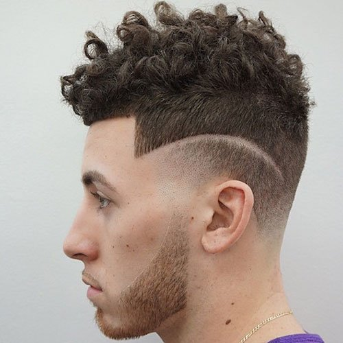 Low Curly Hair Fade with Shape Up and Part