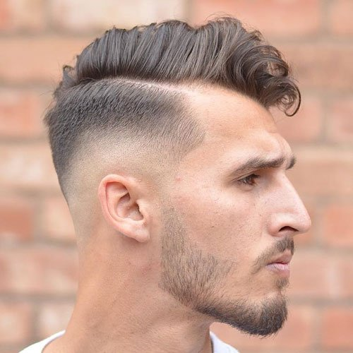 Low Skin Fade with Hard Part Comb Over