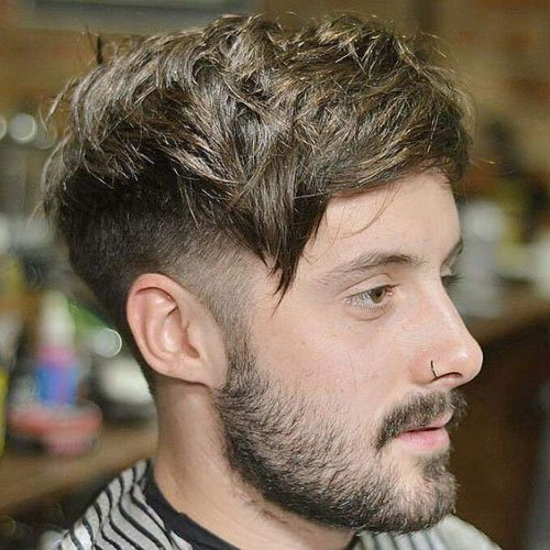 Low Taper Fade with Angular Fringe and Beard