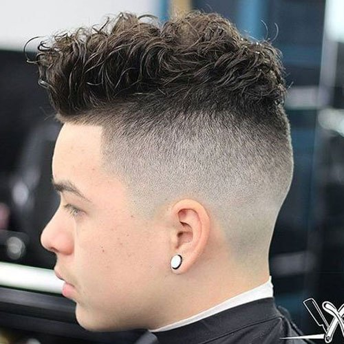 Messy Curly Undercut Fade