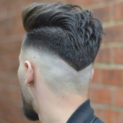 Mid Bald Fade with V-Shaped Neckline