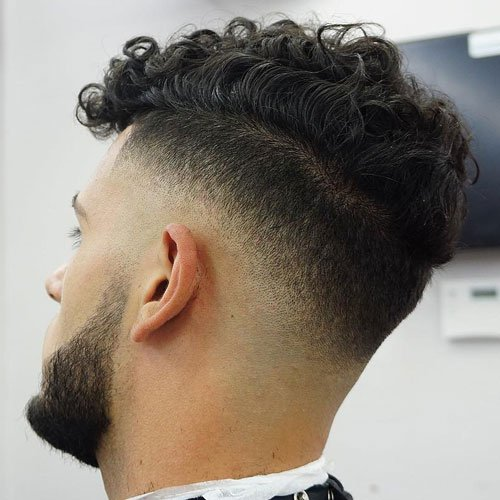 Mid Drop Fade with Beard and Curly Top