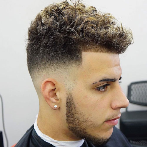 Mid Skin Fade with Line Up and Spiky Curls
