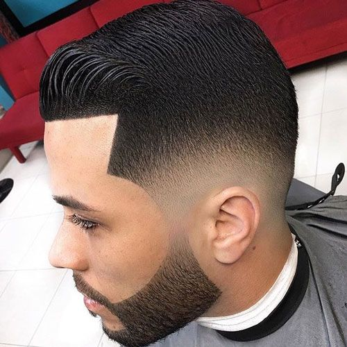 Mid Skin Shadow Fade with Edge Up and Beard
