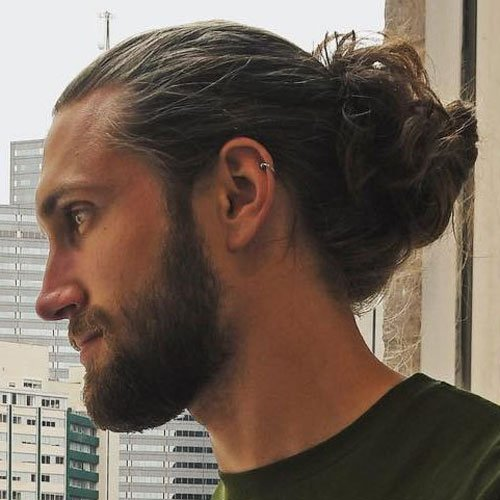 Thick Man Bun With Messy Twist