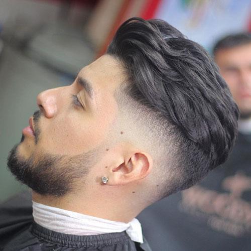 Brushed Back Hair + High Bald Fade + Beard