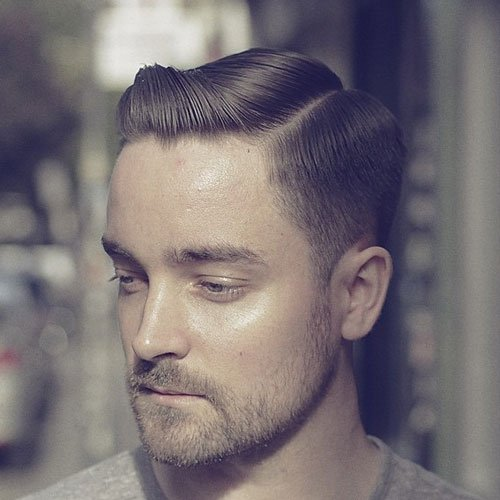 Hard Side Part + Tapered Sides + Beard