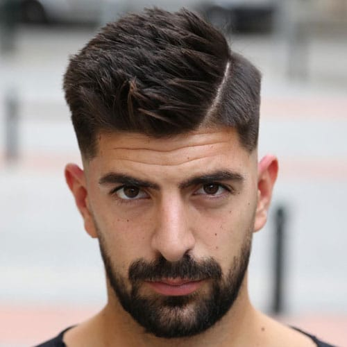 Great Hard Spiky Side Part With Low Fade And Beard