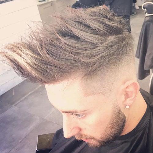 High Fade + Line Up + Long Spikey Hair