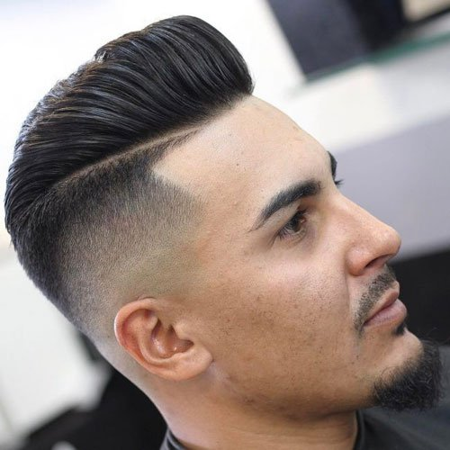 High Skin Fade with Line Up and Pompadour